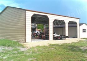 Boxed Eave Roof Style Carport with One End Closed